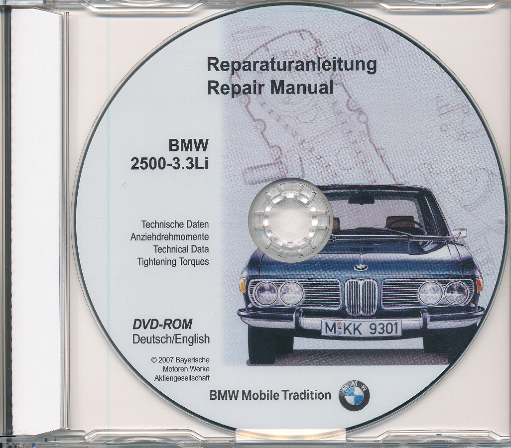 BMW E3 2500 bis 3,3 Li - Werkstatthandbuch DVD