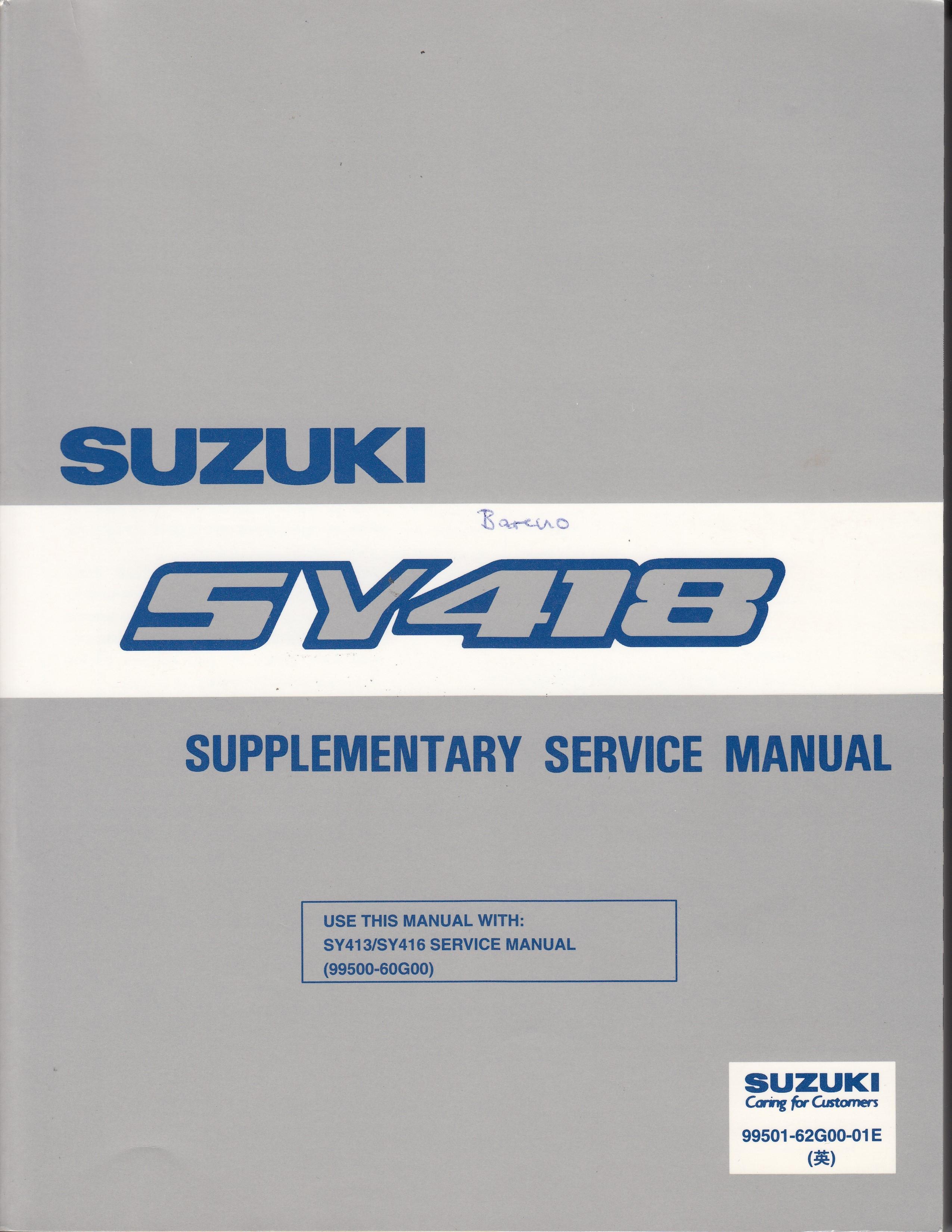 Suzuki Baleno (95-01) - Supplementary Service Manual SY 418