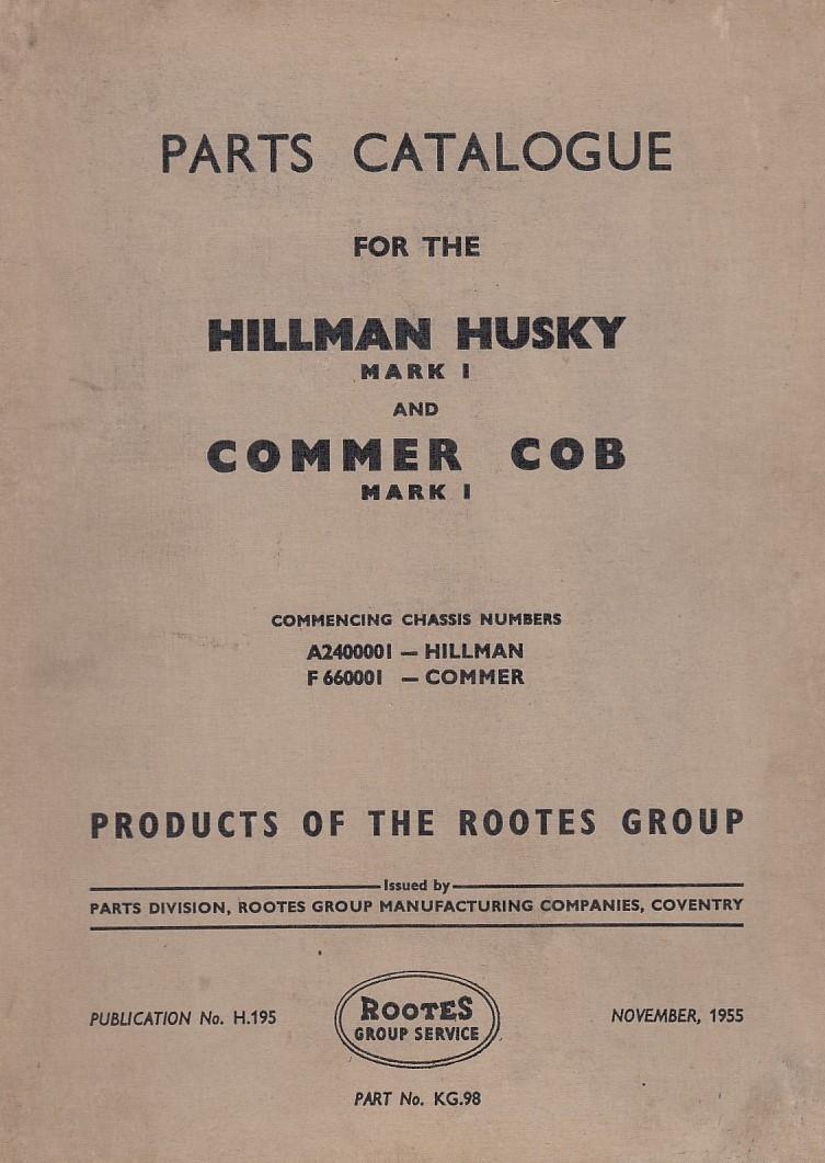 Hillman Husky / Commer COB (55) - Ersatzteilkatalog Parts Catalogue