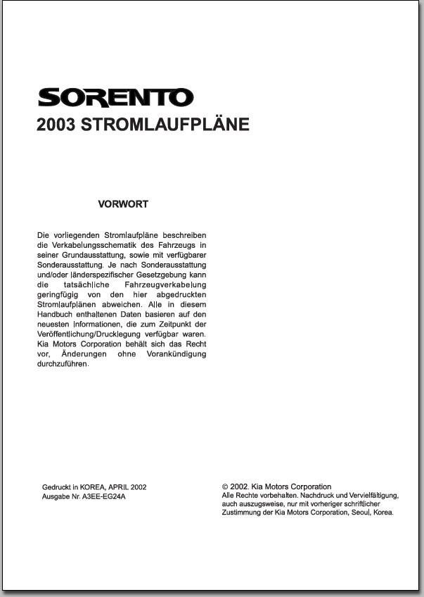 KIA Sorento BL Diesel Schaltplan Stromlaufplan