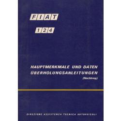 Fiat 124 (1971)  - Hauptmerkmale und Daten Überholungsanleitungen (Nachtrag)