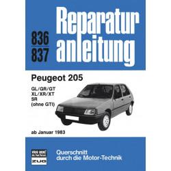Peugeot 205 GL / GR / GT / XL / XR / SR (83>) - Reparaturanleitung Bucheli