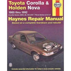 Toyota Corolla & Holden Nova Petrol (85-92) Repair Manual Haynes