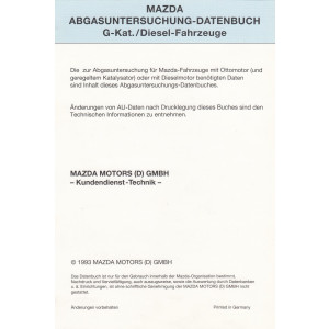 Mazda AU-Datenbuch Benzin und Diesel 1993