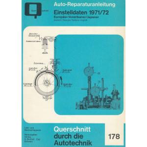 Einstelldaten Amerikaner / Europäer / Japan 71/72 - Reparaturanleitung