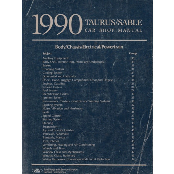 Ford Taurus / Sable (1990) - Car Shop Manual Werkstatthandbuch
