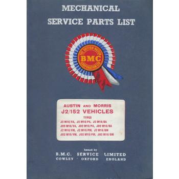 Austin 152 and Morris J2 Van / Pick-Up / Minibus - Ersatzteilkatalog Parts List