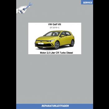 VW Golf 8 (20>) Reparaturleitfaden Motor 2,0 Liter CR Turbo Diesel 85-147 kW
