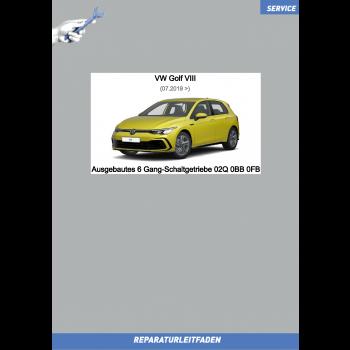VW Golf 8 (20>) Reparaturleitfaden 6 Gang-Schaltgetriebe 02Q 0BB 0FB (ausgebaut)