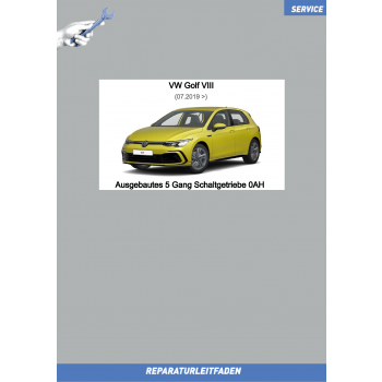 VW Golf 8 (20>) Reparaturleitfaden 5 Gang Schaltgetriebe 0AH (ausgebaut)