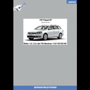 VW Passat B7 (10-14) Reparaturleitfaden Motor 1,8 / 2,0 Liter FSI Benziner 112/118/155 kW