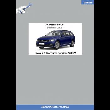 VW Passat B8 (19 ➤) Reparaturleitfaden Motor 2,0 L Turbo Benziner 140 kW