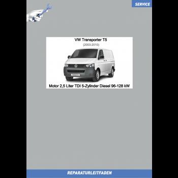 VW Transporter T5 (03-09) Reparaturleitfaden Motor 2,5 Liter TDI 5-Zylinder Diesel 96-128 kW